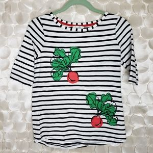 Boden Radish Embroidered striped tee size 8